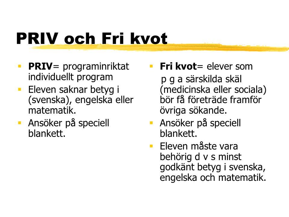 PRIV och Fri kvot PRIV= programinriktat individuellt program