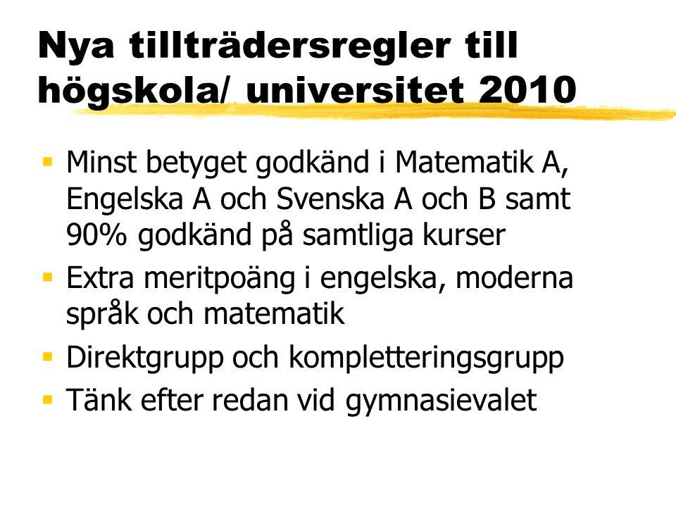 Nya tillträdersregler till högskola/ universitet 2010