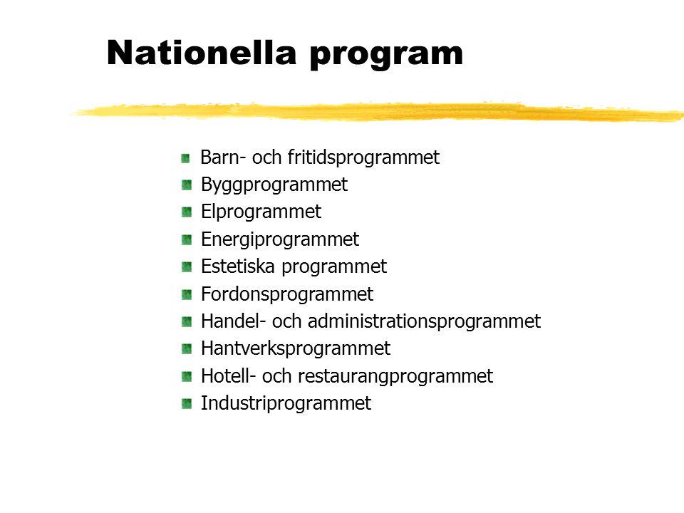 Nationella program Byggprogrammet Elprogrammet Energiprogrammet