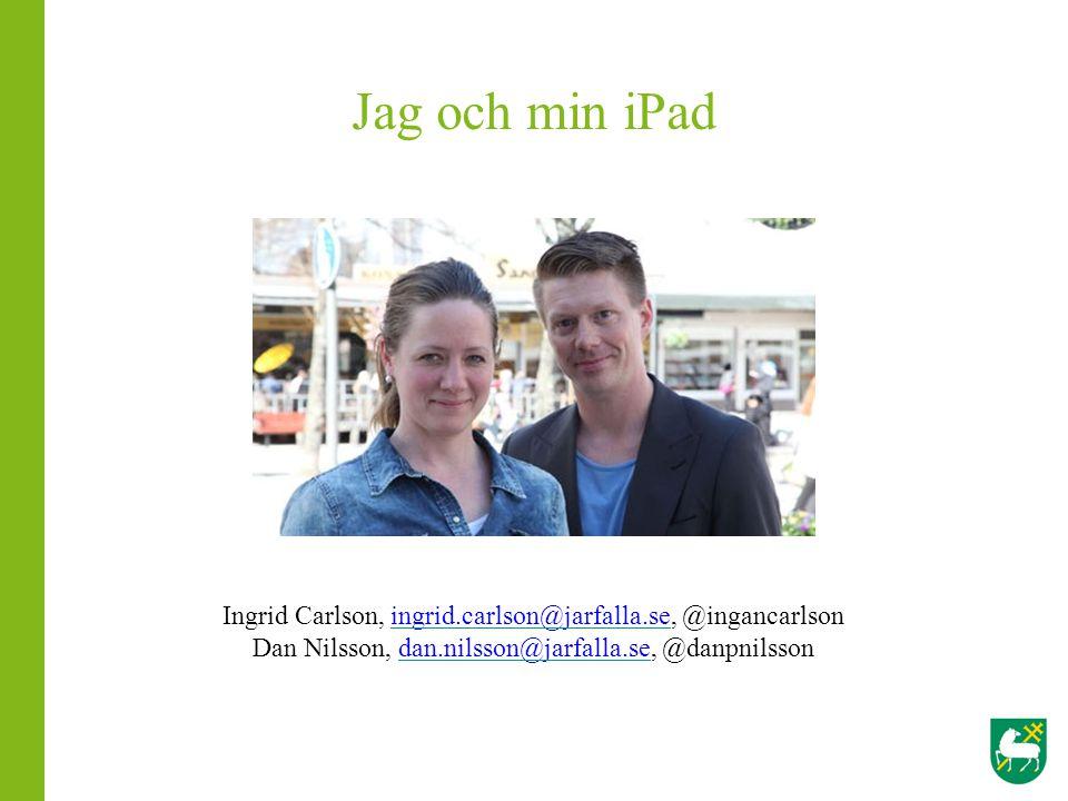 Jag och min iPad Ingrid Carlson, ingrid.carlson@jarfalla.se, @ingancarlson.