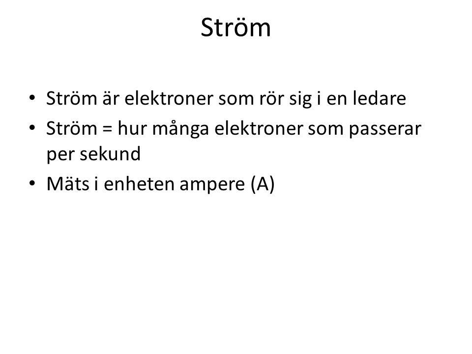 Ström Ström är elektroner som rör sig i en ledare