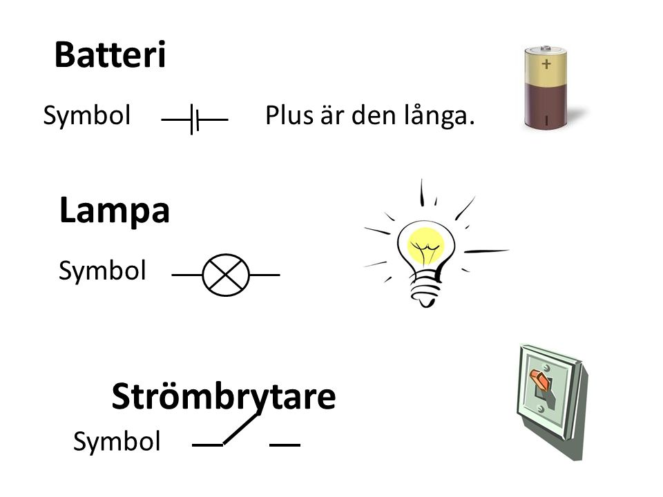 Batteri Symbol Plus är den långa. Lampa Symbol Strömbrytare Symbol
