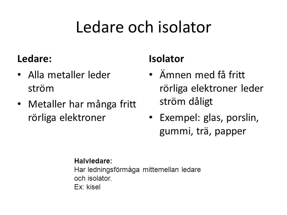 Ledare och isolator Ledare: Alla metaller leder ström