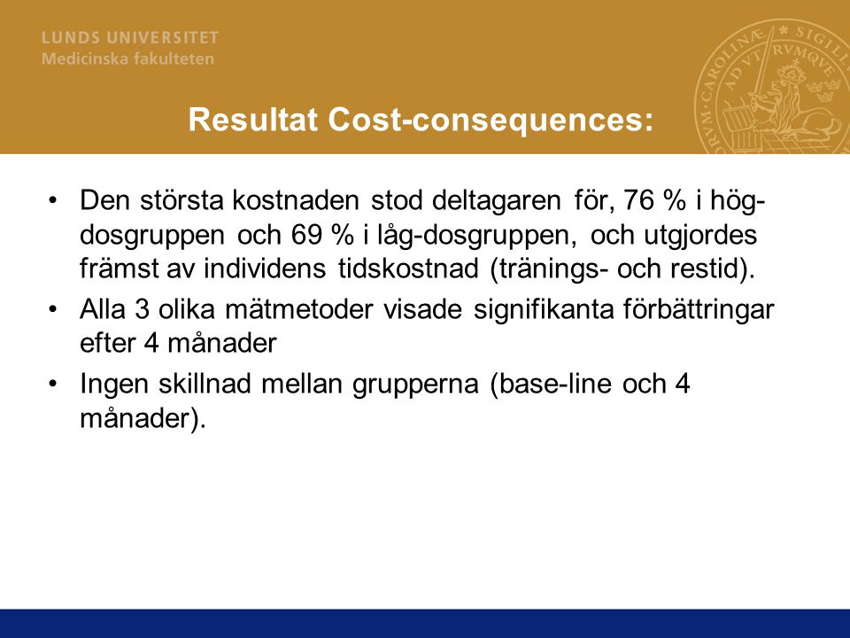 Resultat Cost-consequences: