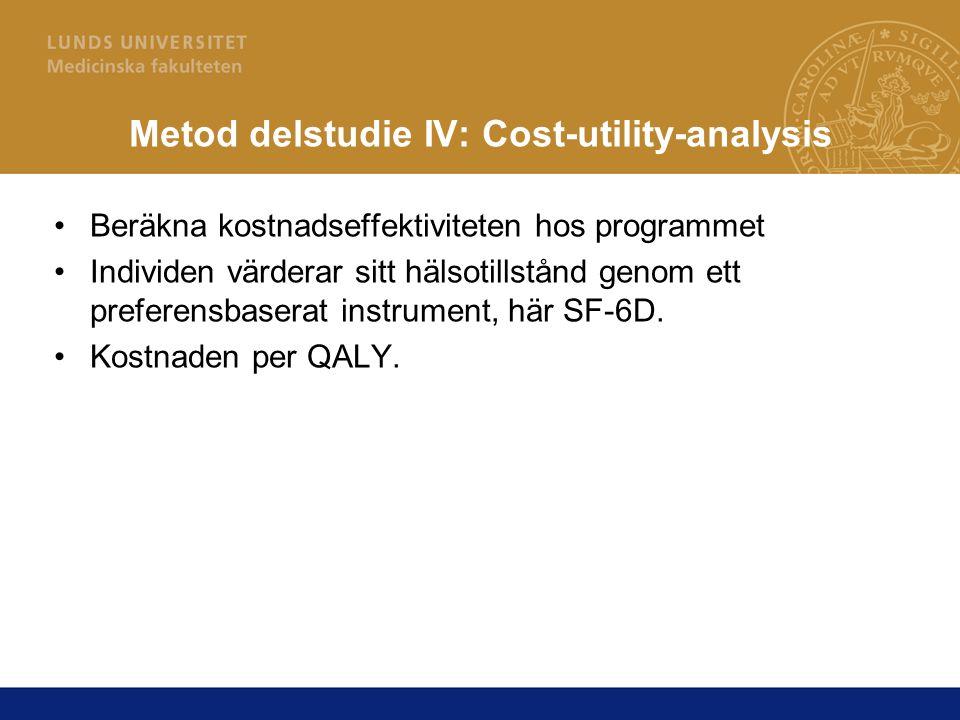 Metod delstudie IV: Cost-utility-analysis