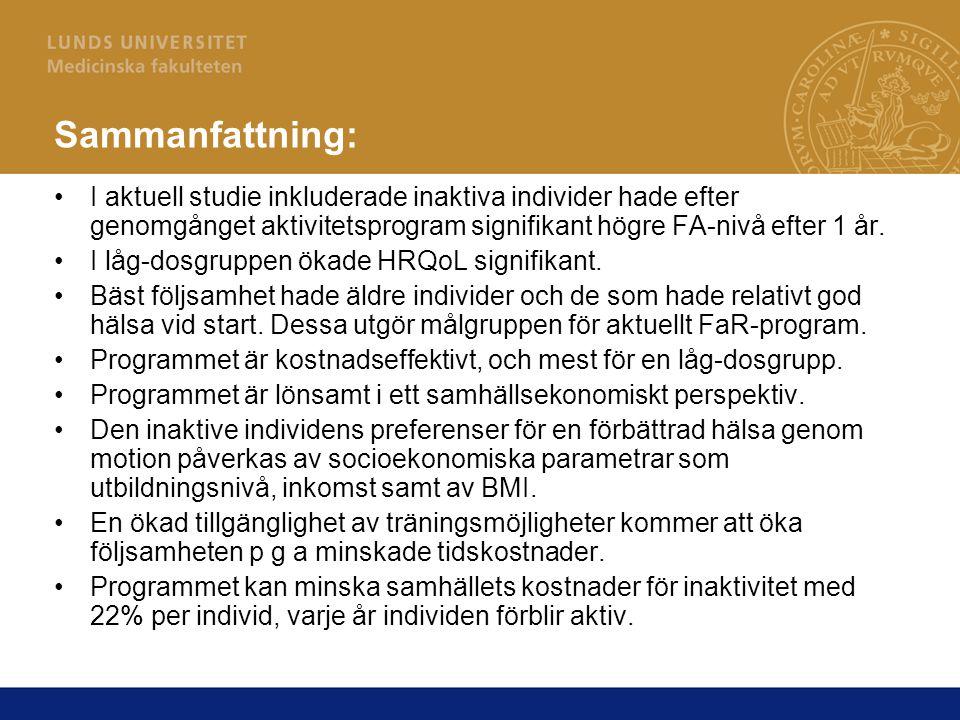 Sammanfattning: I aktuell studie inkluderade inaktiva individer hade efter genomgånget aktivitetsprogram signifikant högre FA-nivå efter 1 år.