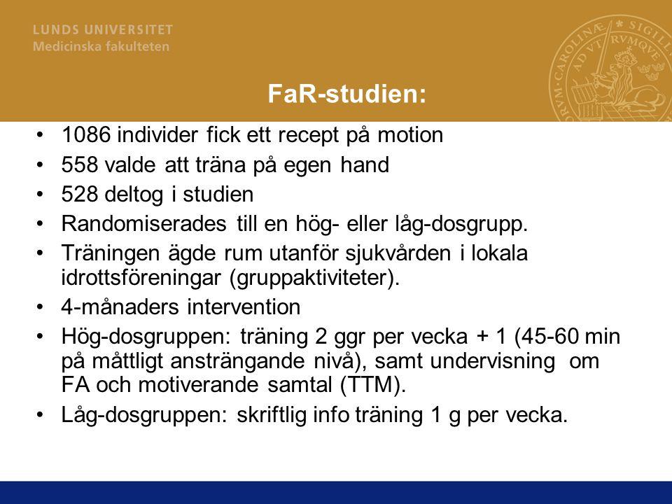 FaR-studien: 1086 individer fick ett recept på motion