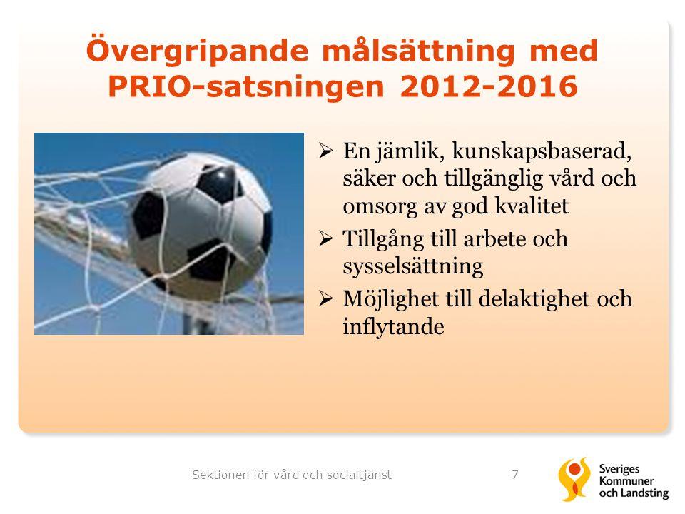 Övergripande målsättning med PRIO-satsningen 2012-2016