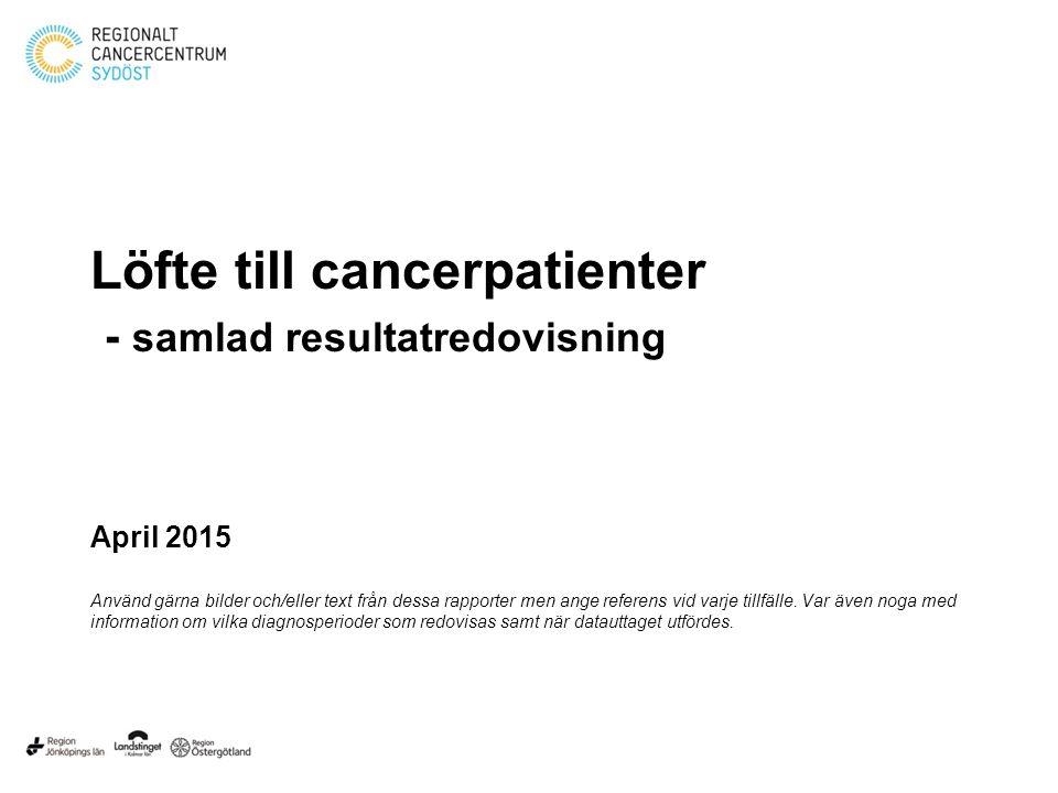 Löfte till cancerpatienter - samlad resultatredovisning