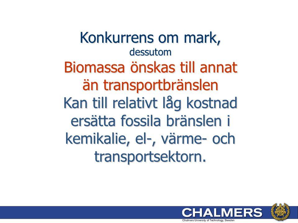 Konkurrens om mark, dessutom Biomassa önskas till annat än transportbränslen Kan till relativt låg kostnad ersätta fossila bränslen i kemikalie, el-, värme- och transportsektorn.