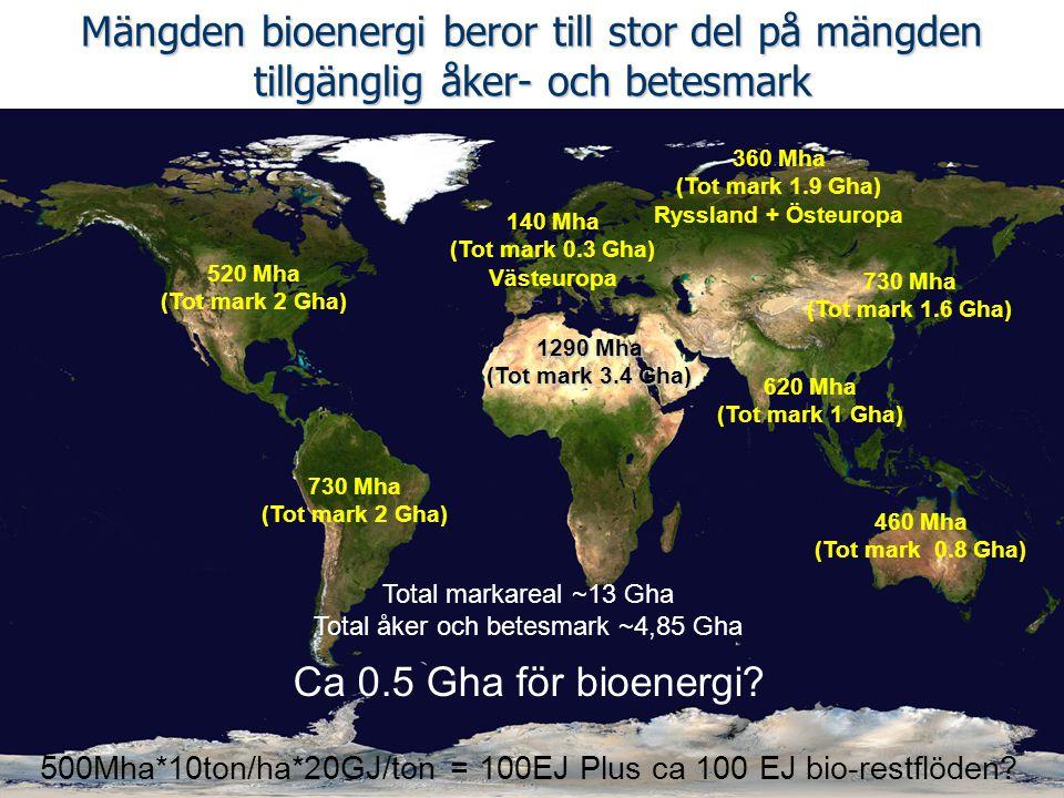 Mängden bioenergi beror till stor del på mängden tillgänglig åker- och betesmark