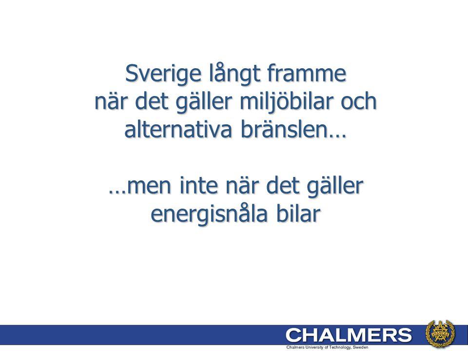 Sverige långt framme när det gäller miljöbilar och alternativa bränslen… …men inte när det gäller energisnåla bilar