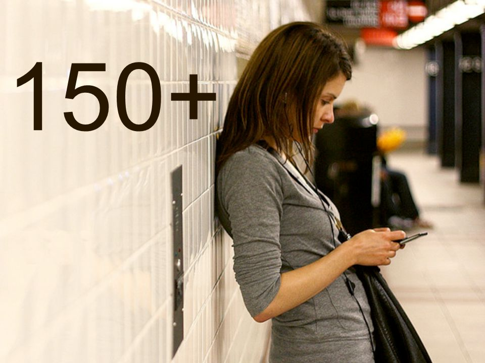 150+ BUT IF YOU USE YOUR PHONE AS MUCH AS 150 TIMES DURING A DAY – YOU'RE STILL BELOW AVERAGE.
