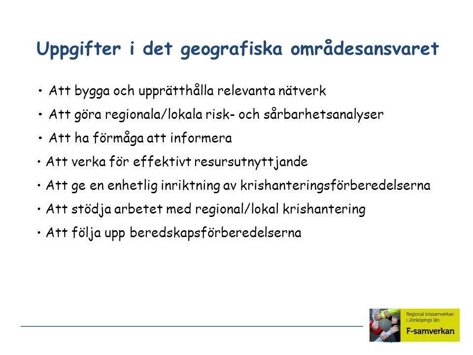 Uppgifter i det geografiska områdesansvaret