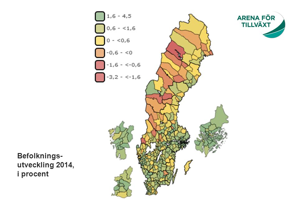 Befolknings-utveckling 2014, i procent