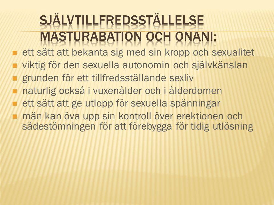Självtillfredsställelse masturabation och onani: