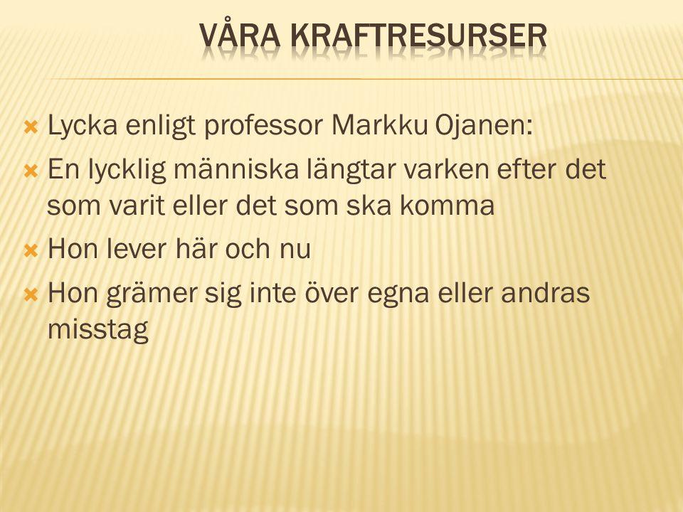 Våra kraftresurser Lycka enligt professor Markku Ojanen: