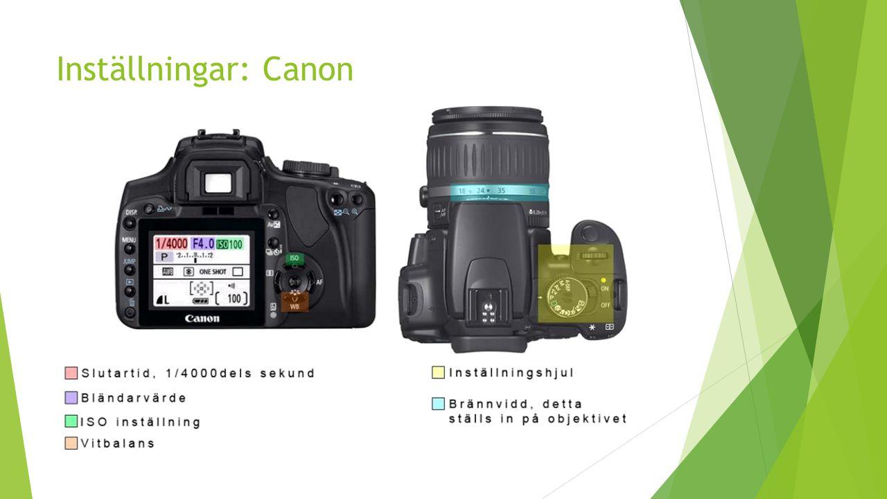 Inställningar: Canon