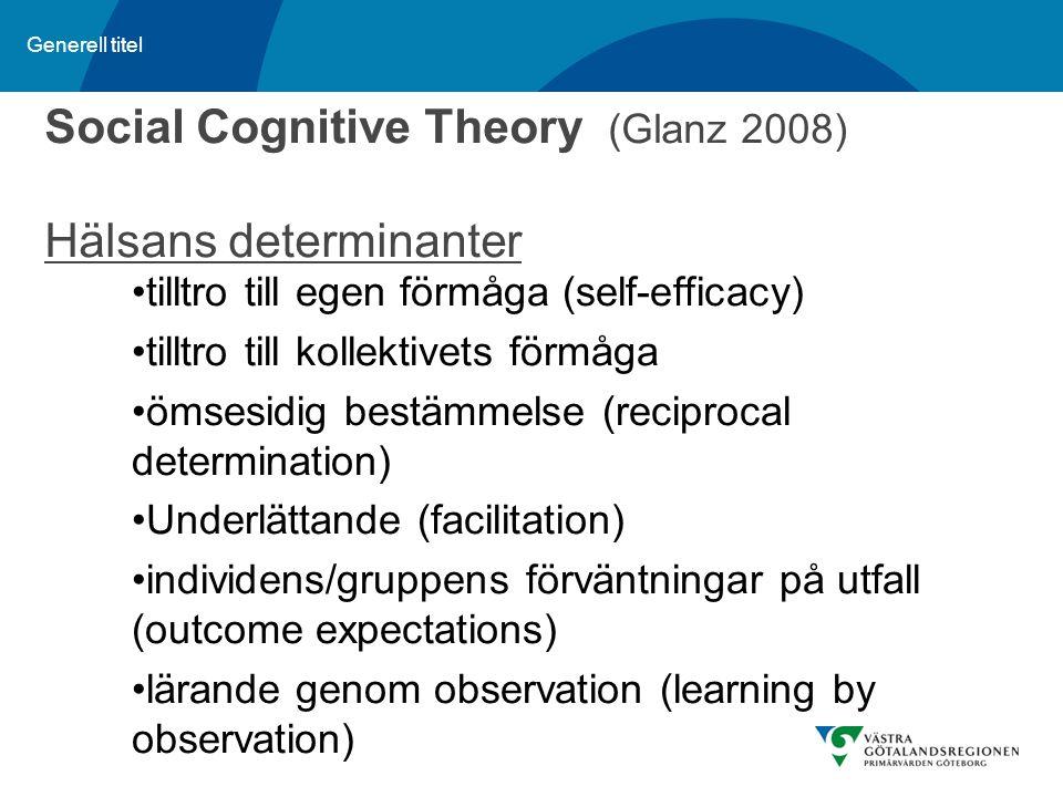 Social Cognitive Theory (Glanz 2008) Hälsans determinanter