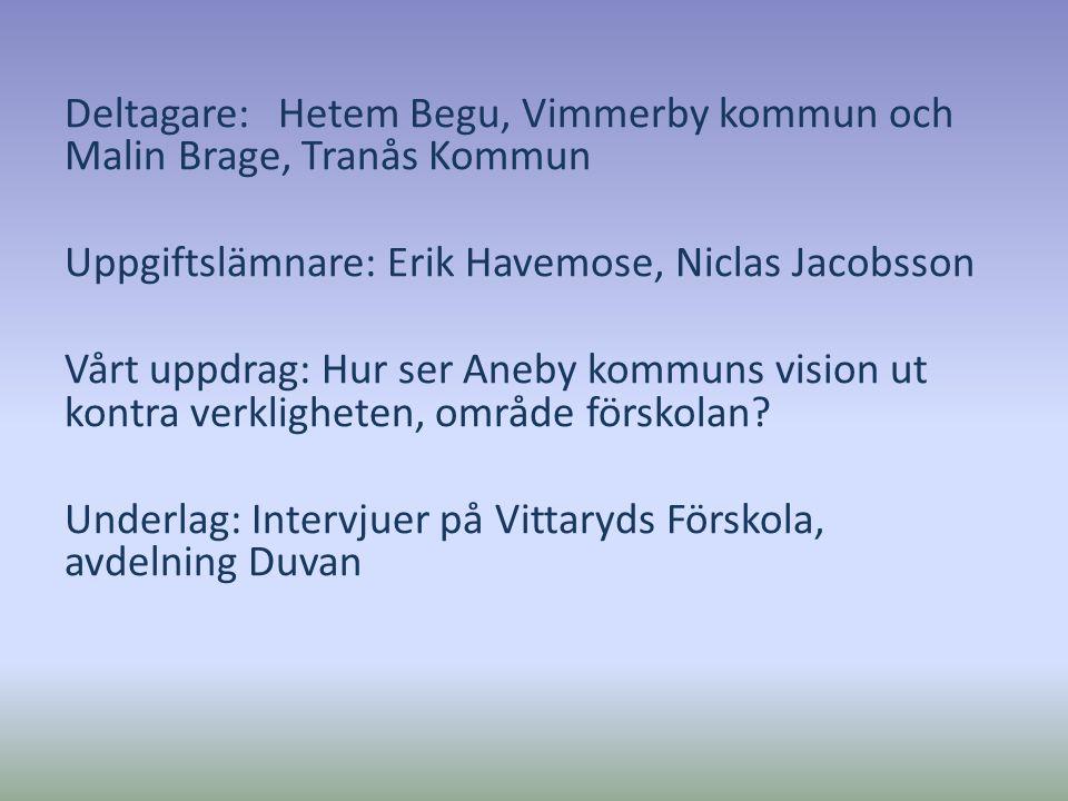 Deltagare: Hetem Begu, Vimmerby kommun och Malin Brage, Tranås Kommun