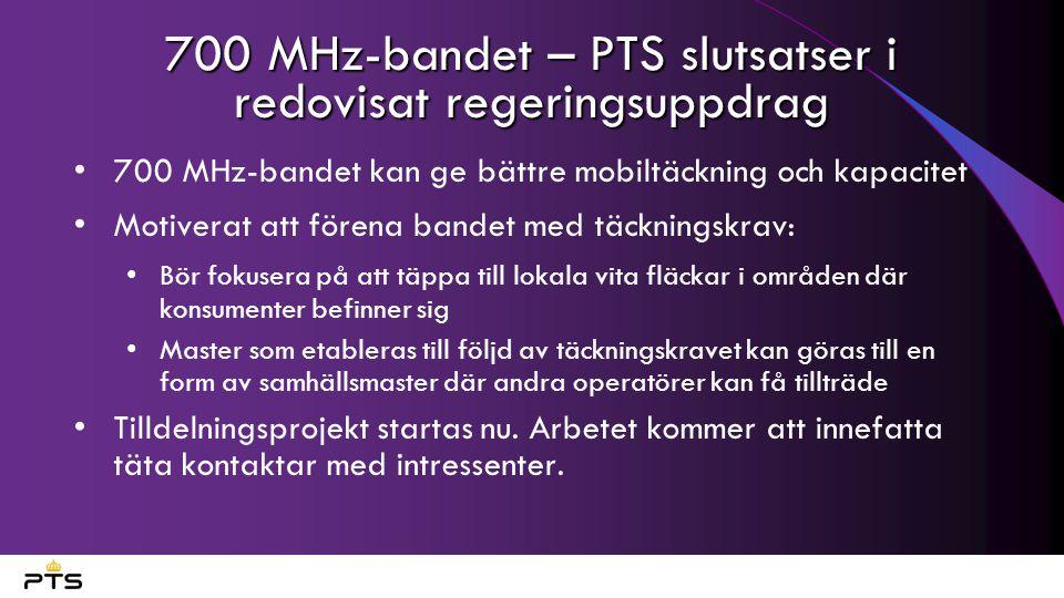 700 MHz-bandet – PTS slutsatser i redovisat regeringsuppdrag