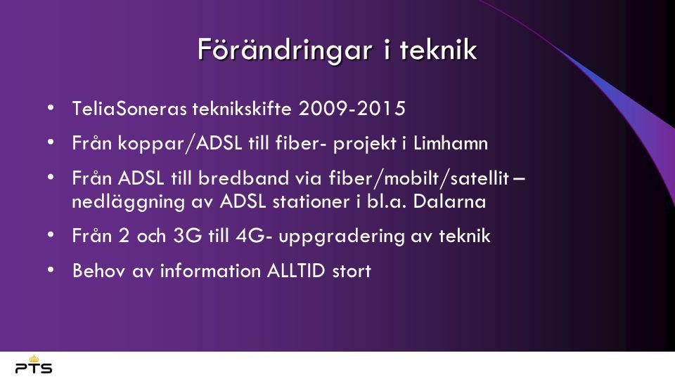 Förändringar i teknik TeliaSoneras teknikskifte 2009-2015