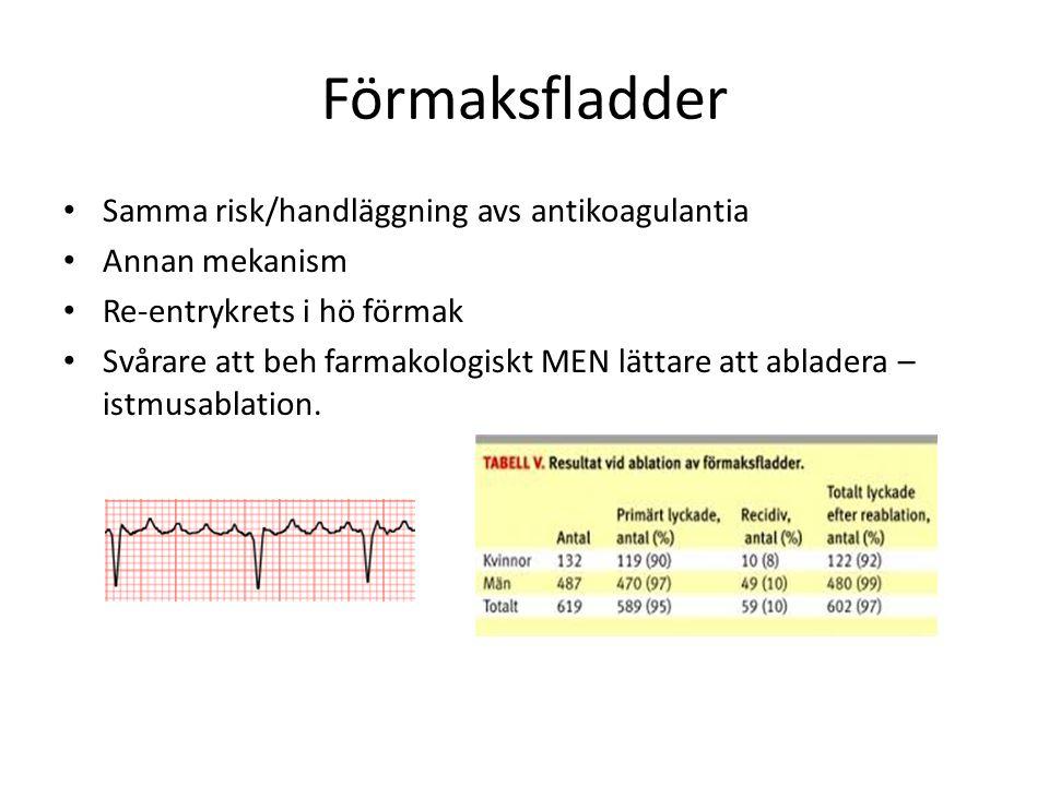 Förmaksfladder Samma risk/handläggning avs antikoagulantia