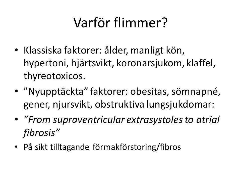 Varför flimmer Klassiska faktorer: ålder, manligt kön, hypertoni, hjärtsvikt, koronarsjukom, klaffel, thyreotoxicos.