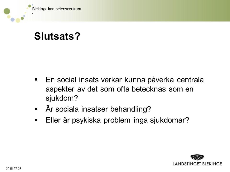 Slutsats En social insats verkar kunna påverka centrala aspekter av det som ofta betecknas som en sjukdom