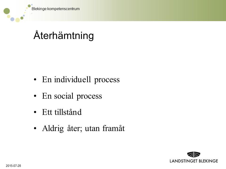 Återhämtning En individuell process En social process Ett tillstånd