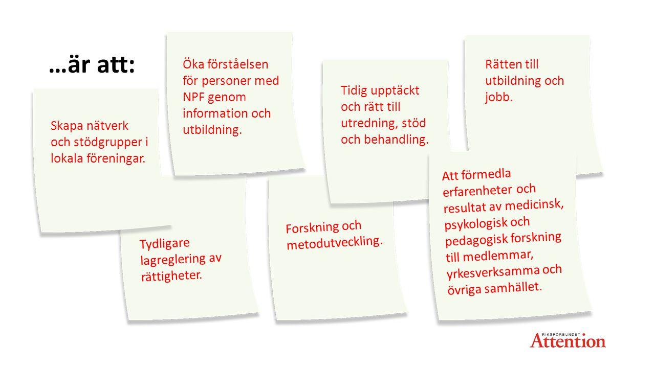 …är att: Öka förståelsen för personer med NPF genom information och utbildning. Rätten till utbildning och jobb.