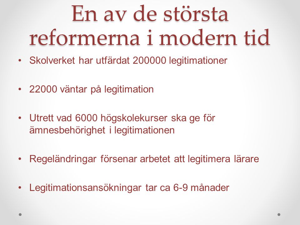 En av de största reformerna i modern tid