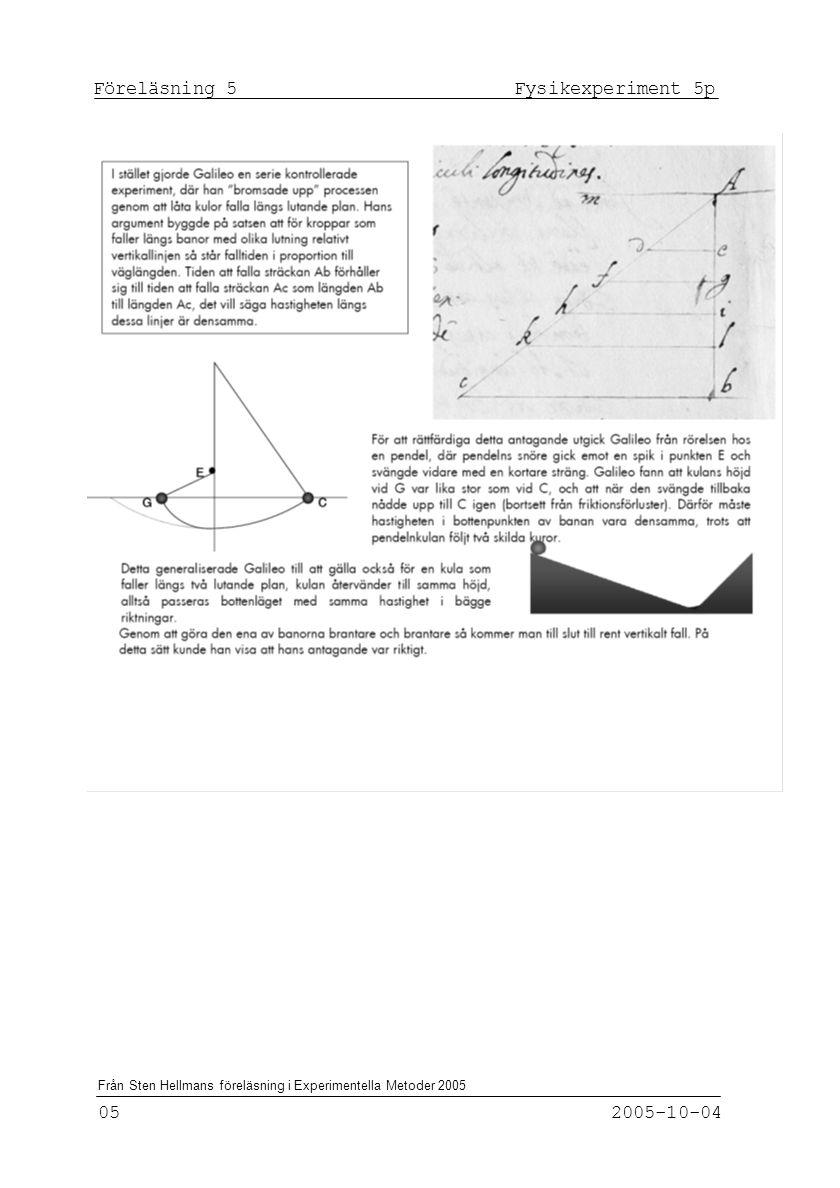 Föreläsning 5 Fysikexperiment 5p
