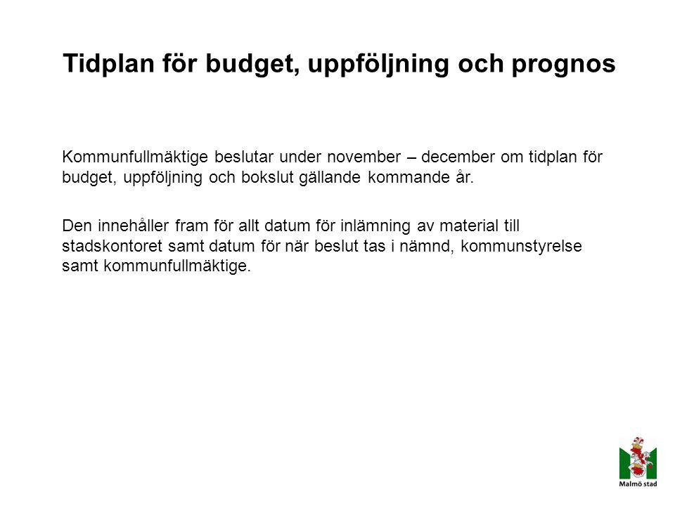 Tidplan för budget, uppföljning och prognos