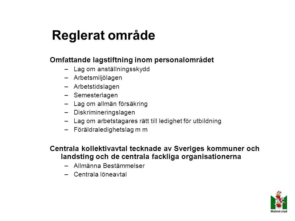 Reglerat område Omfattande lagstiftning inom personalområdet