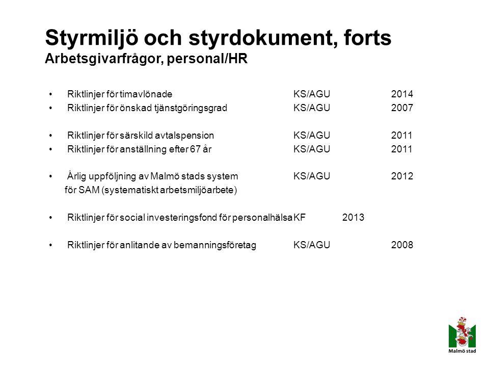 Styrmiljö och styrdokument, forts Arbetsgivarfrågor, personal/HR