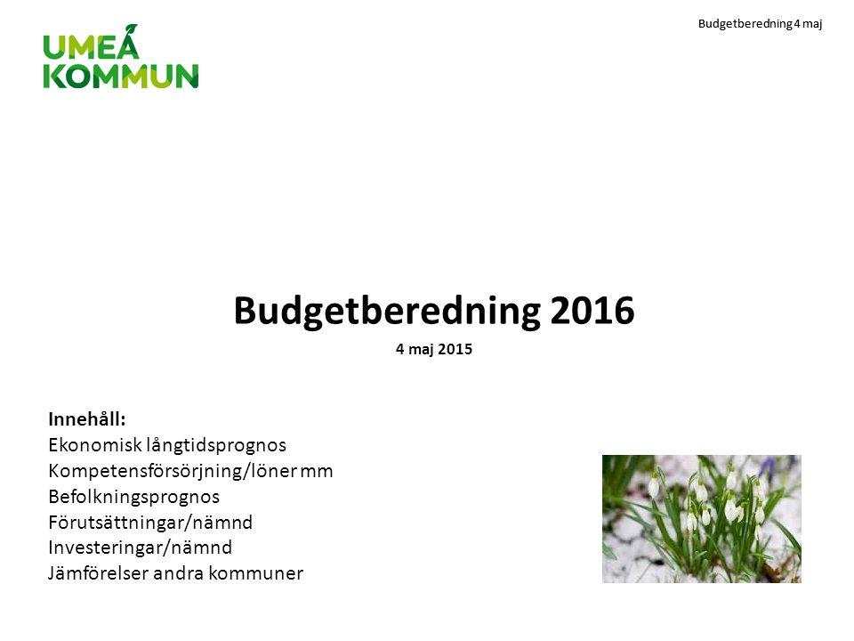Budgetberedning 2016 Innehåll: Ekonomisk långtidsprognos