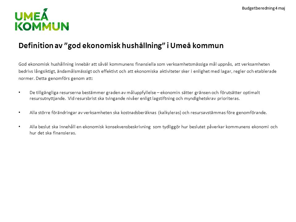 Definition av god ekonomisk hushållning i Umeå kommun
