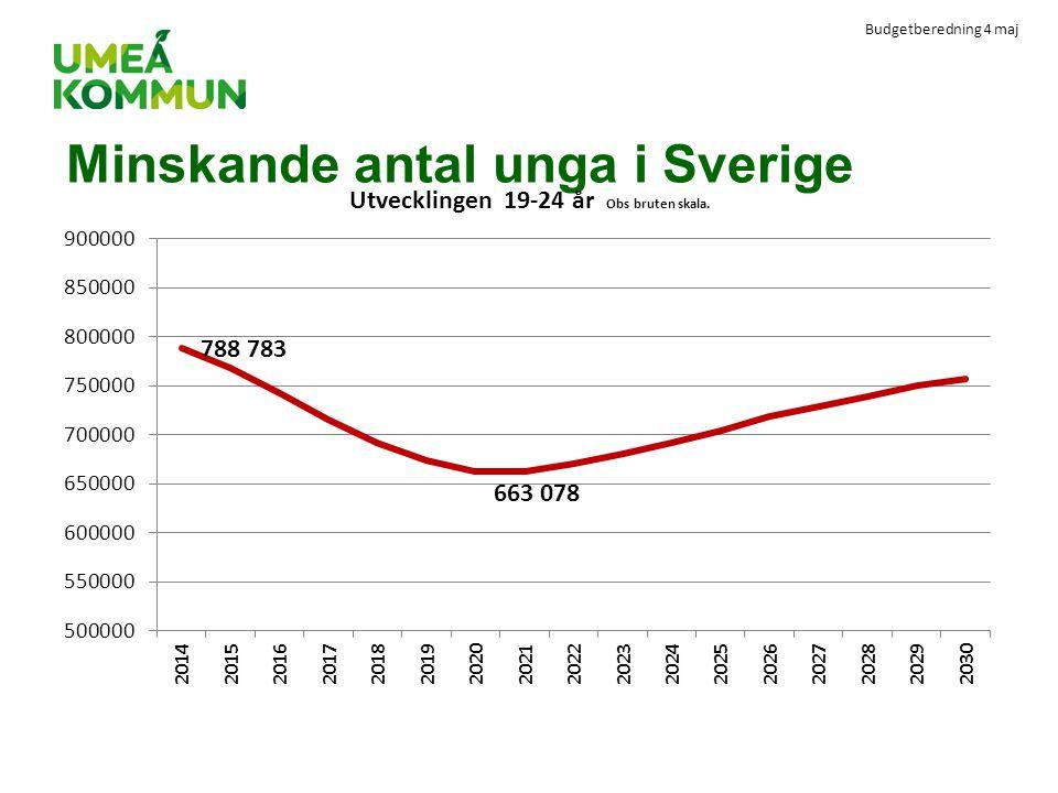 Minskande antal unga i Sverige