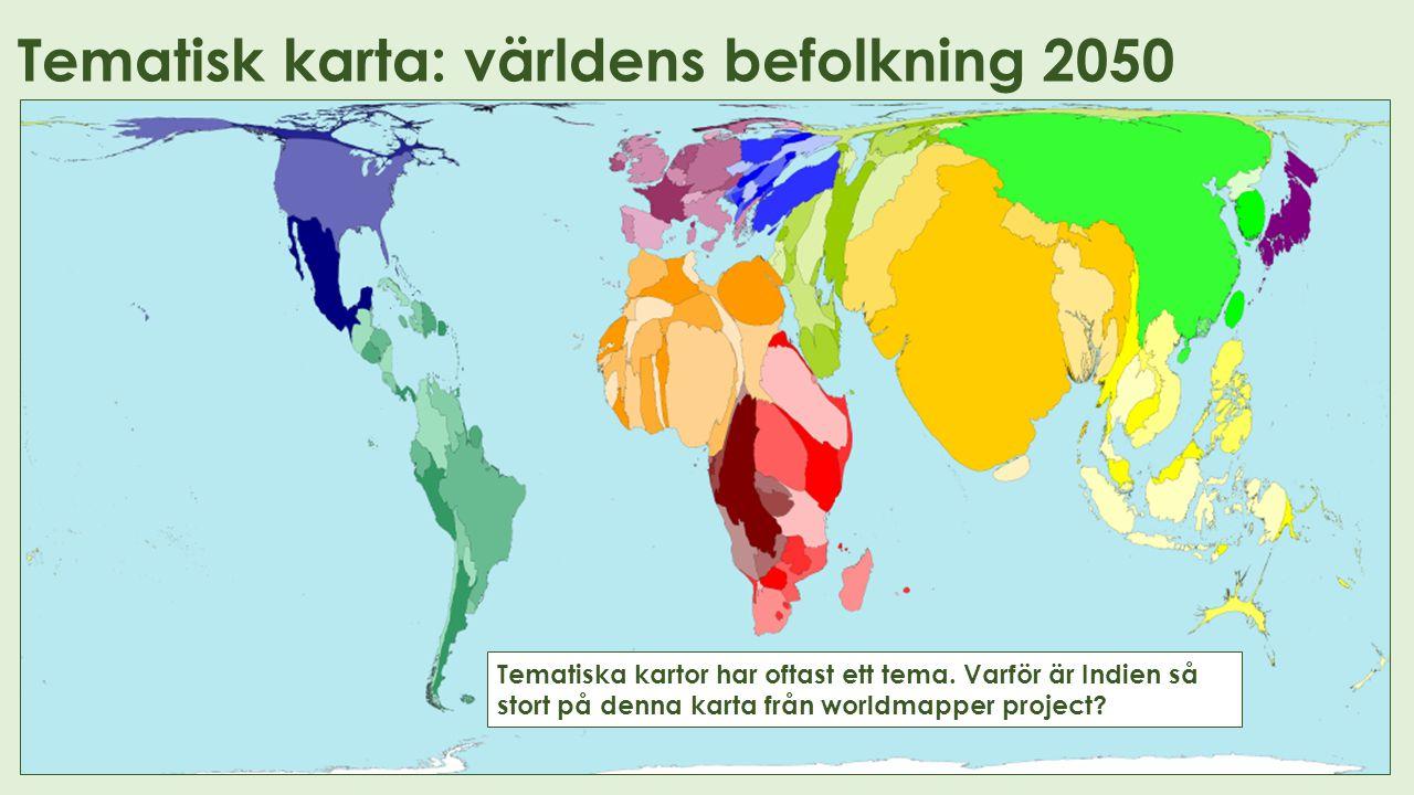 Tematisk karta: världens befolkning 2050