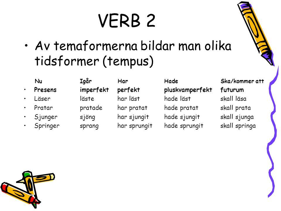 VERB 2 Av temaformerna bildar man olika tidsformer (tempus)