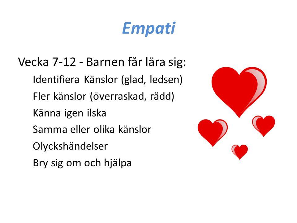Empati Vecka 7-12 - Barnen får lära sig: