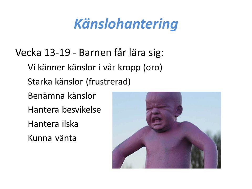 Känslohantering Vecka 13-19 - Barnen får lära sig: