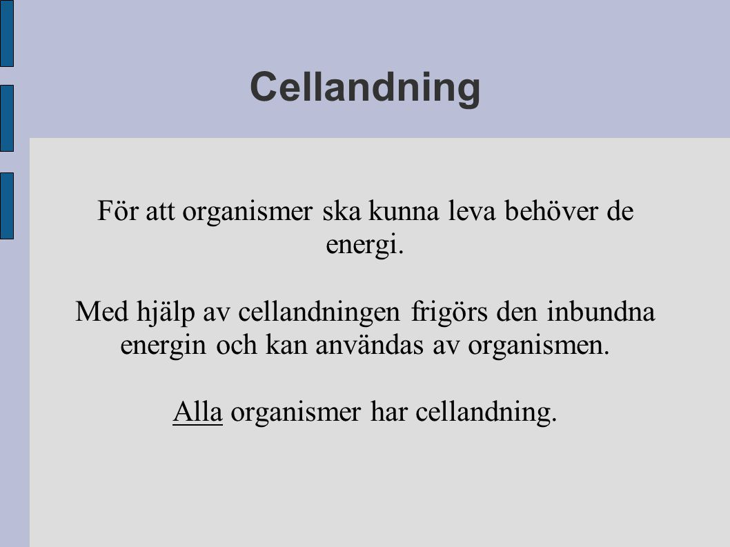 Cellandning För att organismer ska kunna leva behöver de energi.