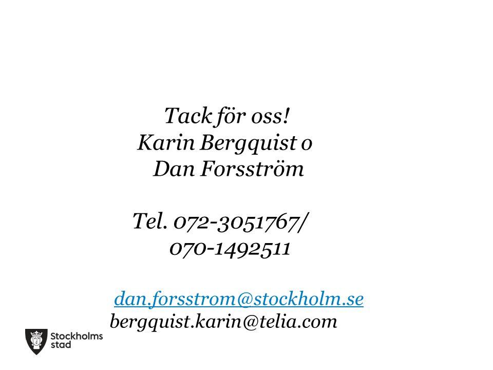 Tack för oss! Karin Bergquist o Dan Forsström Tel. 072-3051767/