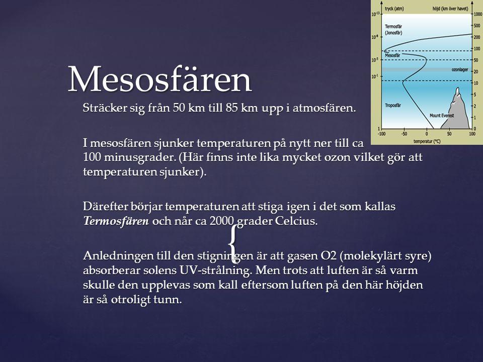 Mesosfären Sträcker sig från 50 km till 85 km upp i atmosfären.