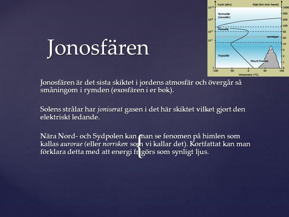 Jonosfären Jonosfären är det sista skiktet i jordens atmosfär och övergår så småningom i rymden (exosfären i er bok).