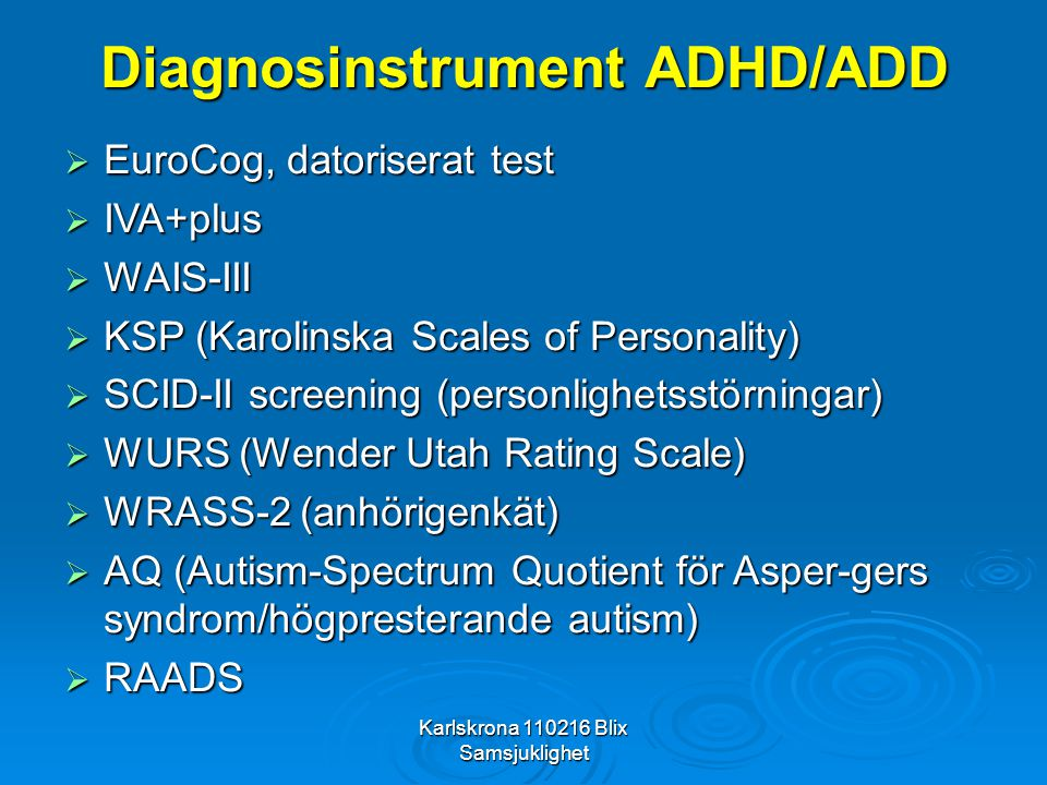 Diagnosinstrument ADHD/ADD
