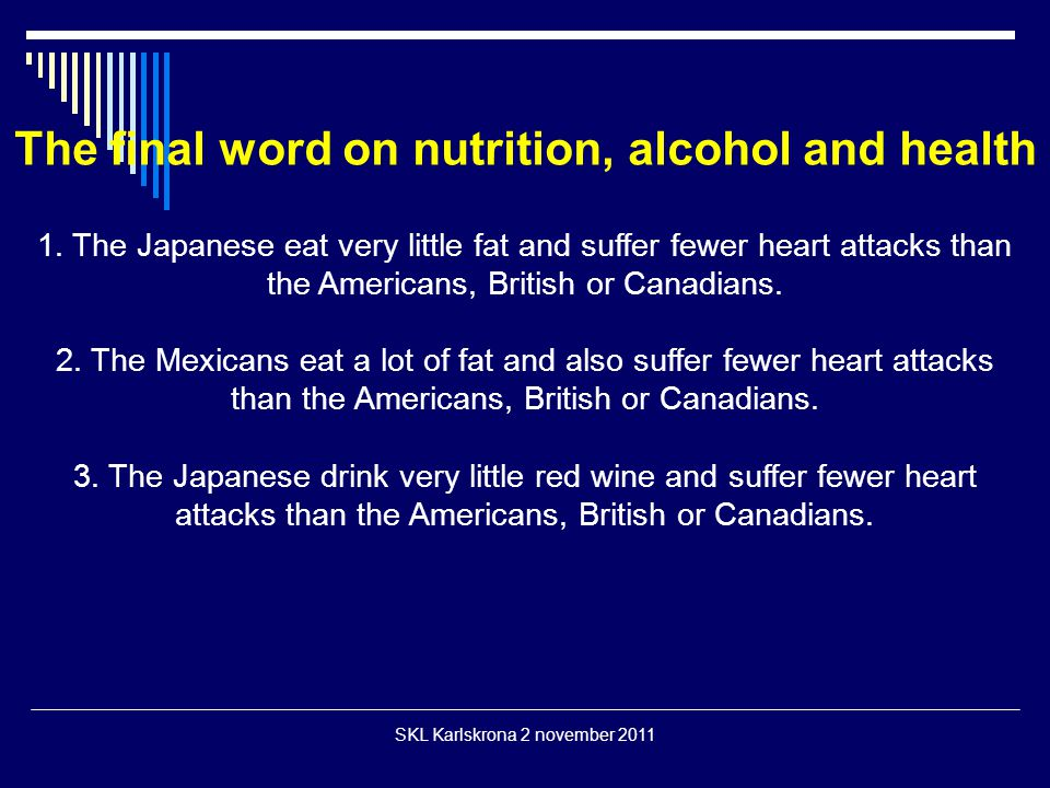 The final word on nutrition, alcohol and health