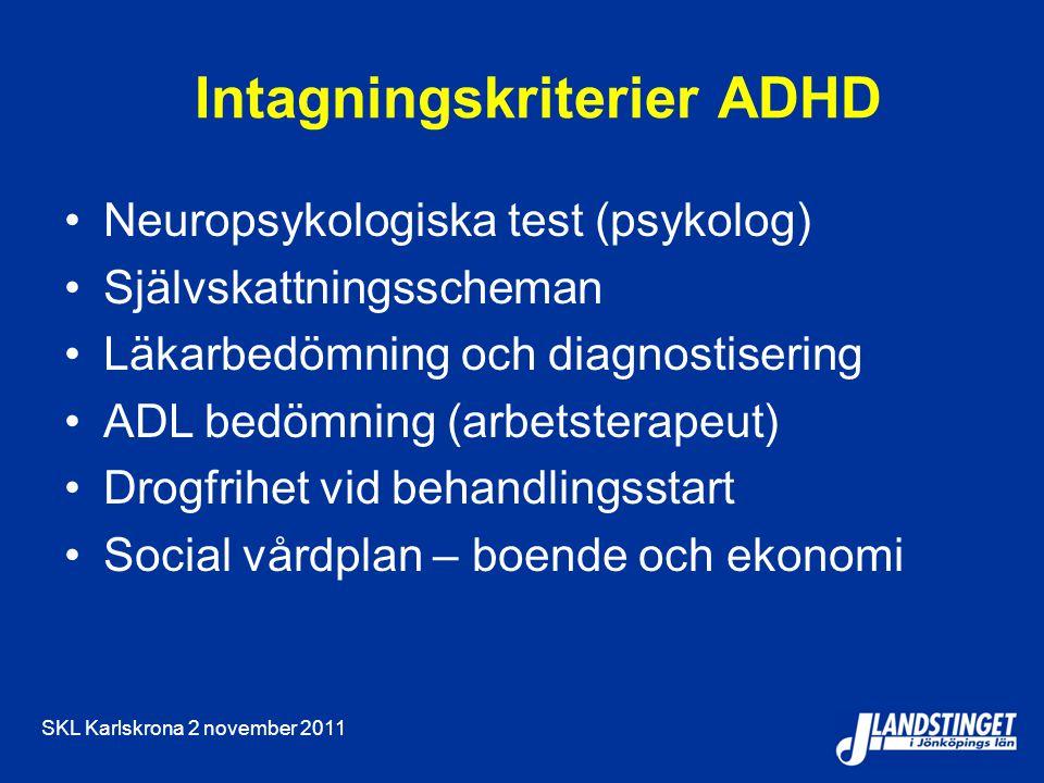 Intagningskriterier ADHD